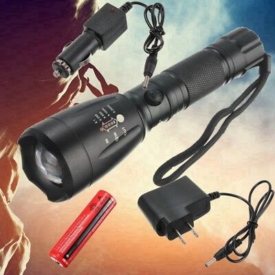 5000Lum T6 LED Zoomable Zoom Flashlight Torch Lamp 18650 + 2*Charger