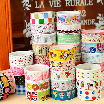 10 pcs Sticky Adhesive Sticker Decorative Washi Tape Colorful DIY 1.5cm*3m