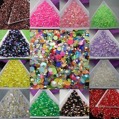 12g about  2000 pcs AB Color Half Round Crystal  Rhinestone Flatback Beads 3mm