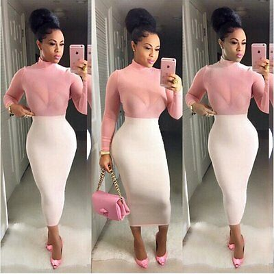 Women Sexy Bodycon Bandage Evening Cocktail Party Long Sleeve Sheer Pencil Dress