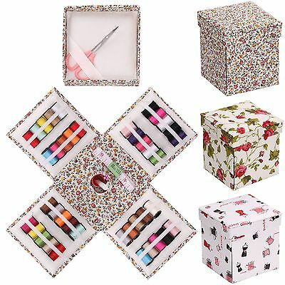 Sewing Kit Needle Set Fold Up Storage Box Thread Tape Measure Thimble Scissor Uk