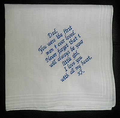 Personalised Wedding Keepsake Handkerchief Hankie Bride To Dad