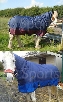 "Superb Mustang Medium Weight Turnout Rug Full Neck 3/'6/"" Navy//Royal 250g !!"