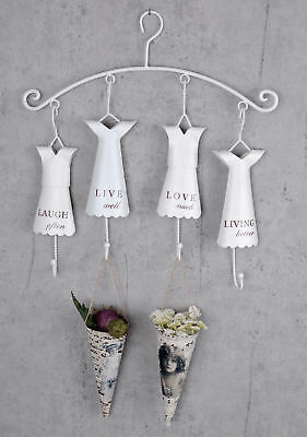 Hook Bar Shabby Chic Wardrobe Coat Rack White Wall Wardrobe