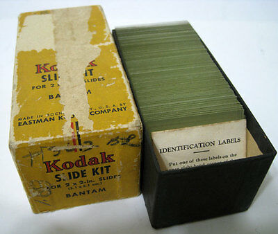 "Kodak ® Box Of 83 2"" X 2"" Vintage Glass Slides"