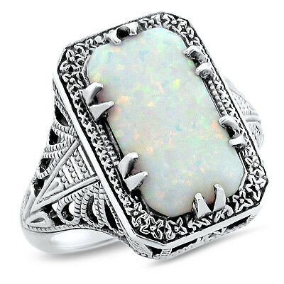 White Lab Opal Deco 925 Sterling Silver Antique Design Ring Size 6.75,   #628