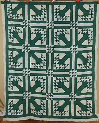 20's Vintage Green Trees Birds in Flight Antique Quilt Top ~GREAT DESIGN!
