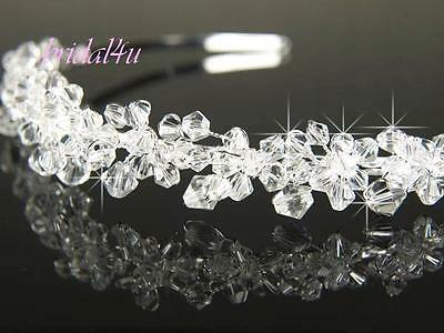 Bridal Prom made with Swarovski Crystal Silver Plated Headband Tiara T098