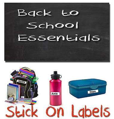100 Stick On School Name Labels Tags Printed Waterproof Tapes  personalised