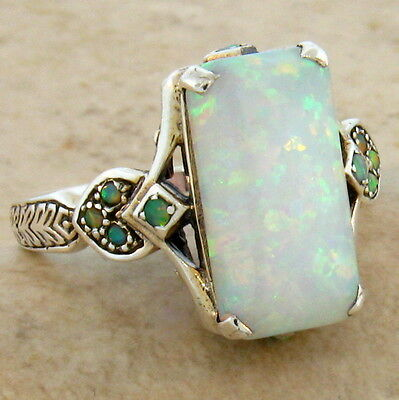 Lab Opal Antique Victorian Style .925 Sterling Silver Ring Size 5.75,      #462