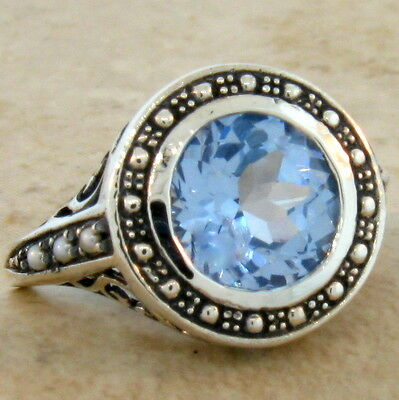 3.5 Ct. Sky Blue Sim Topaz Antique Victorian Style .925 Silver Ring Size 10,#467