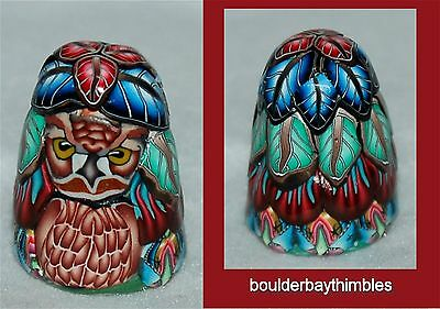 Boulder Bay Thimble - HORNED OWL on a BED OF LEAVES NEW Signed O-04