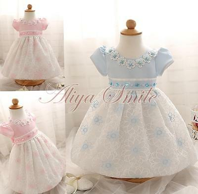 Baby Girl Toddler Flower Wedding Party Dress Infant Baptism Kids Rhinestone Gown