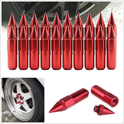 20 X Aluminium Alloy Spiked Type Car SUV Wheel Extended Tuner Lug Nuts 60mm Red