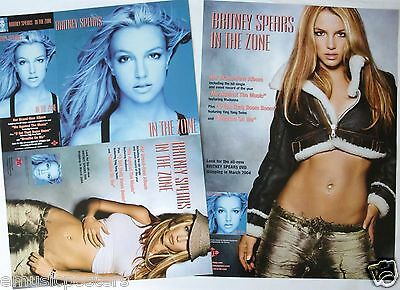"""Britney Spears """"in The Zone"""" 2-Sided U.s. Cardboard Poster / Flat / Divider Card"""