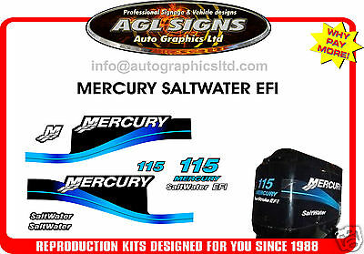 2004 Mercury 115 Efi Saltwater Outboard Decal Kit,150 225 250 Hp's Available