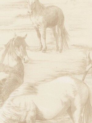 Beige Horse / Horses Large Print Toile Wallpaper EQ104671