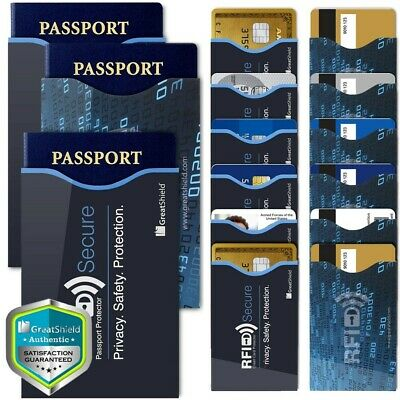 GreatShield 12 Pack Slim RFID Blocking Identity Card Passport Protection Sleeves