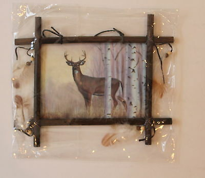 "Indian Picture Deer Dream Catcher Mandella 11""x9"" feathered Beaded Frame Hanging"