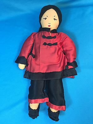 "Vintage 1950s? Ada Lum Mei Mei Style 12"" Asian Girl Doll In Chinese Silk Pajamas"