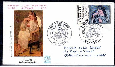 France Fdc - 1982 02 Journee Du Timbre - 2205 - Amiens - Picasso
