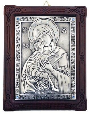 Jeweled Madonna and Child Icon Silver Plated 999 in Oak Wooden Frame WOW