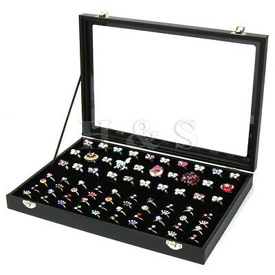 Top Quality Glass Lid 100 Ring Jewellery Display Storage Box Tray Case Organiser