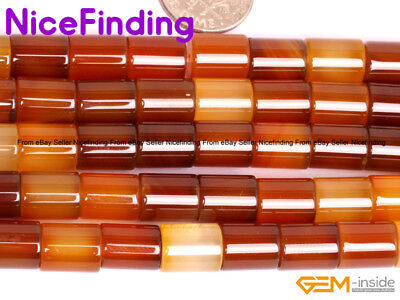 "Natural Tube Agate Red Carnelian Gemstone Beads For Jewelry Making Strand 15""DIY"