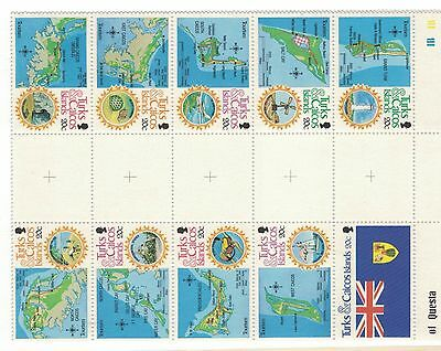 1981 Turks & Caicos Islands Tete-Beche Gutter Block 20 SG 675/84 MUH
