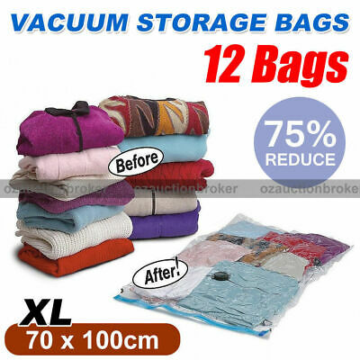 12pcs X-Large 70x100cm Vacuum Storage Seal Compressing Bags Saver Space Saving