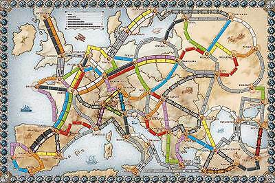 NEW Ticket To Ride Europe Game Board Only Original Replacement