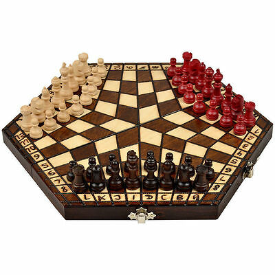 Wooden Three Player Chess - 11""