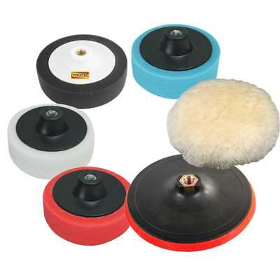 Polishing Compound Pad Kit & Lambs Wool Kit WHITE BLACK BLUE RED 6 Pc Piece NEW