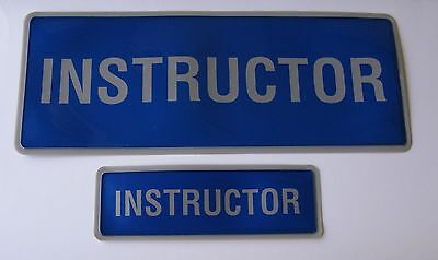 Encapsulated Reflective Instructor Badge Set Blue And Silver Sewn On Or Velcro