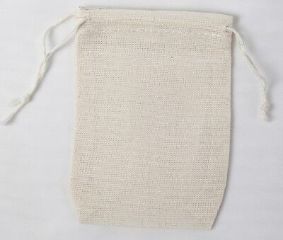 100 Mini Cotton Muslin Drawstring Bags Bath Soap Herbs