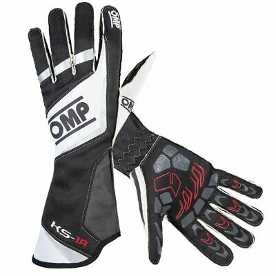 OMP KS-1R Karting / Go Kart / Race Gloves In Black / White / Silver