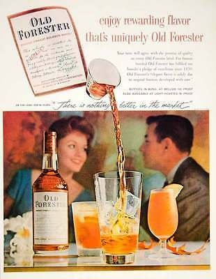1960 Ad Old Forester Kentucky Bourbon Whisky Alcohol Beverage Cocktail Pour YTF8