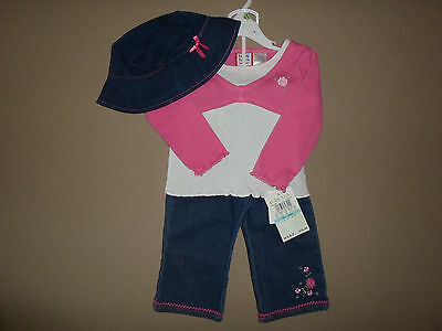 Baby Girls 18 Months 3 Piece Set~Long Sleeve Top, Jean Pants & Hat~NEW WITH TAGS