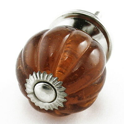 Amber Glass Knobs, Round Drawer Pulls and Cabinet Handles Chrome Hardware #K71