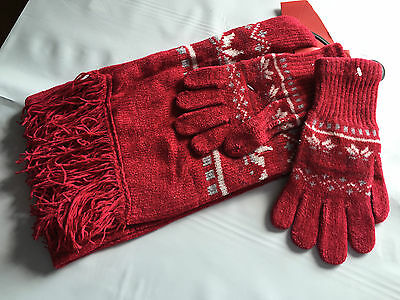 BNWT Ladies Teenage Girls BHS Brand Red Snowflake Gloves and Scarf Set One Size