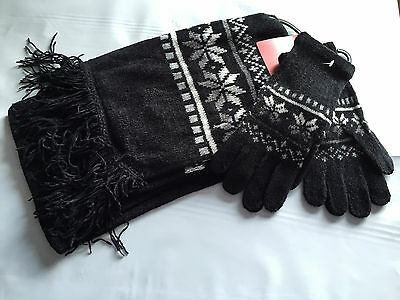 BNWT Ladies Teenage Girls BHS Brand Black Snowflake Gloves Scarf Set One Size
