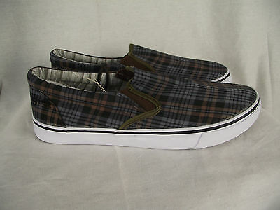 BNWT Older Boys Mens Sz 7 Rivers Brown Checks Slip On Loafer Style Casual Shoes