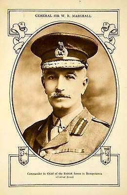 1918 Rotogravure General Sir Marshall British WWI Mesopotamia Commander YCH1