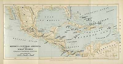 1901 Lithograph Map Mexico Central America West Indies Mexico Gulf XGO8
