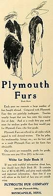 1912 Ad Plymouth Furs Fashion Wraps Clothing Accessories Minneapolis TRV1