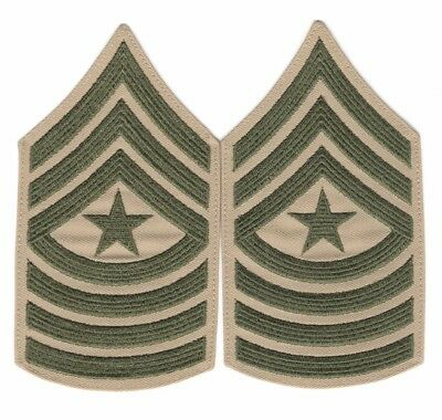 USMC Marine Corps Rank Chevron:  Sergeant Major, pair - khaki