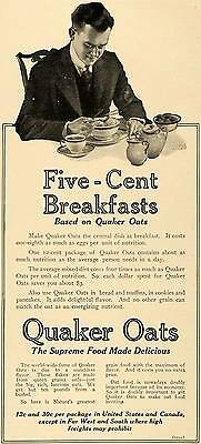 1917 Ad Five Cent Breakfasts Quaker Oats Cereal Mills - ORIGINAL TIN2