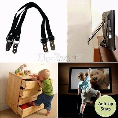 Anti-Tip Furniture TV Wall Strap Heavy Duty Nylon Safety Anchor Metal Mounting