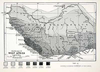 1906 Lithograph Antique Map West Africa Rainfall Monrovia French XGQB5