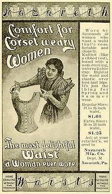 1898 Ad Nazareth Waists Women's Comfortable Corsets Fashion Undergarment LHJ6